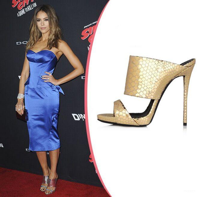 c48cf6e0b843 Designer Brand Women s High Heels Slides Sandals Snake Embossed ...
