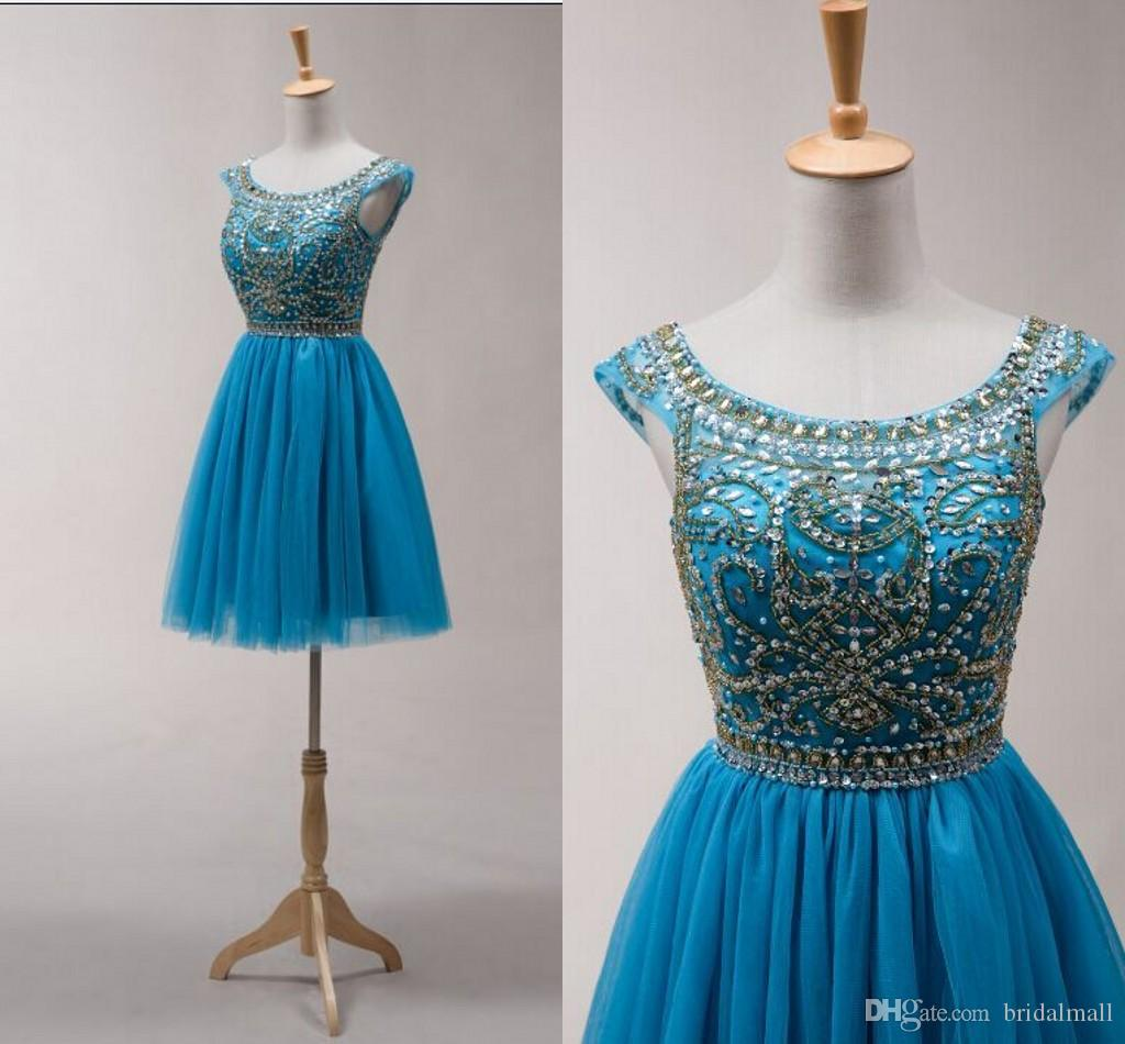 Hot Sales Homecoming Dresses Short Beads Sequins Scoop Graduation ...