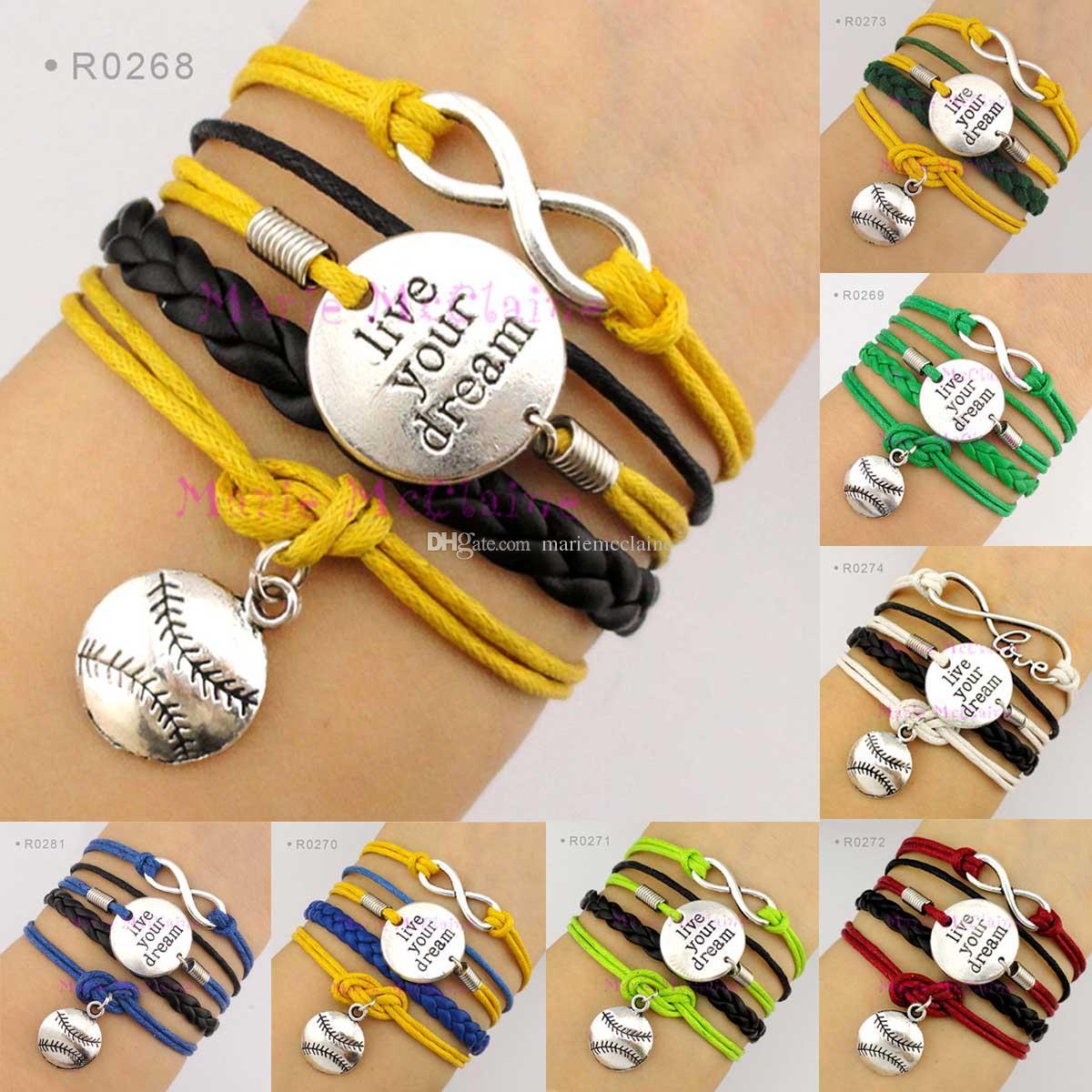 Live Your Dream Infinity Wish Love Baseball Softball Charm Sports Wrap  Bracelets Leather Wax Unisex Women Fashion Christmas Custom Design Charm  Bracelets Uk