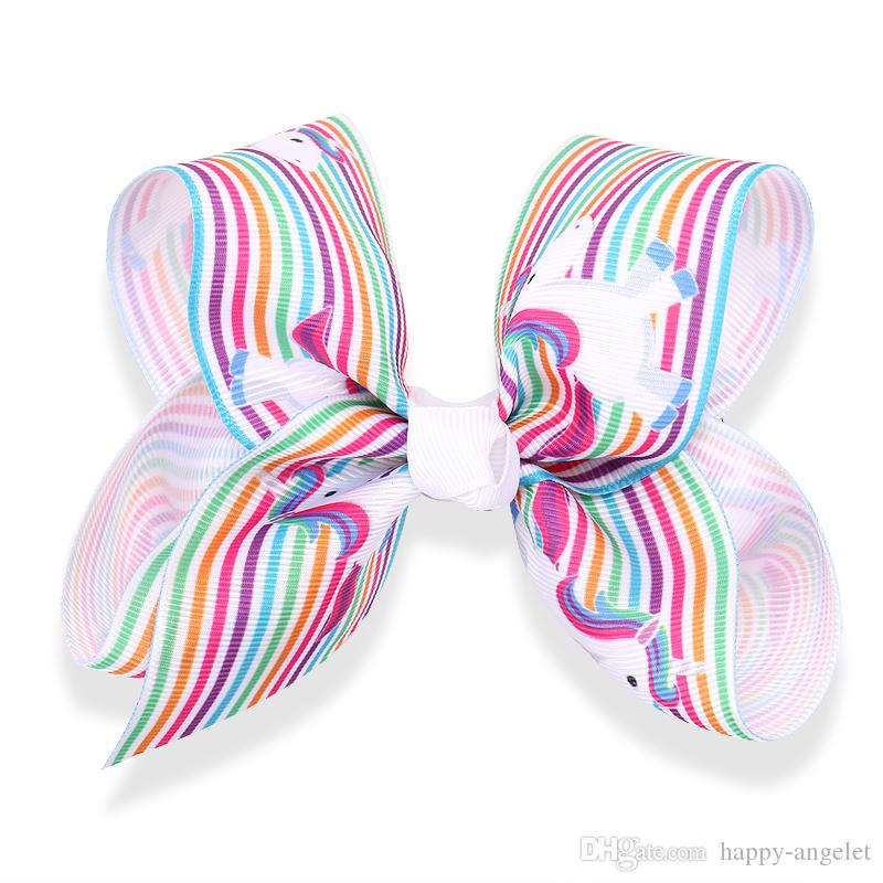 """girl Newest 5"""" Unicorn hair bows clips character striation ombre bowknot hairpins headwear Party hair bobbles Accessories HD3512"""