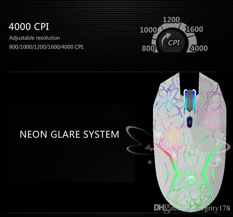 4000 CPI Bloody N50 Neon gaming mouse world fastest key response light strick gaming mice infrared-micro-switch mouse