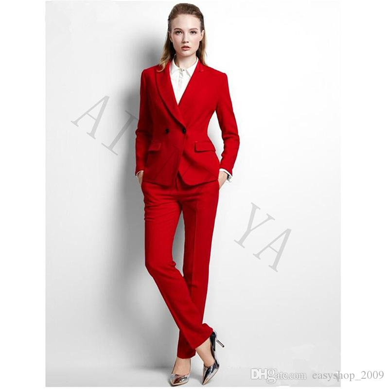 355f4ac69d99 2019 New Women S Two Piece Pants Jacket+Pants Womens Business Suits Red  Double Breasted Female Office Uniform Formal Evening Prom Party Slim Lad  From ...