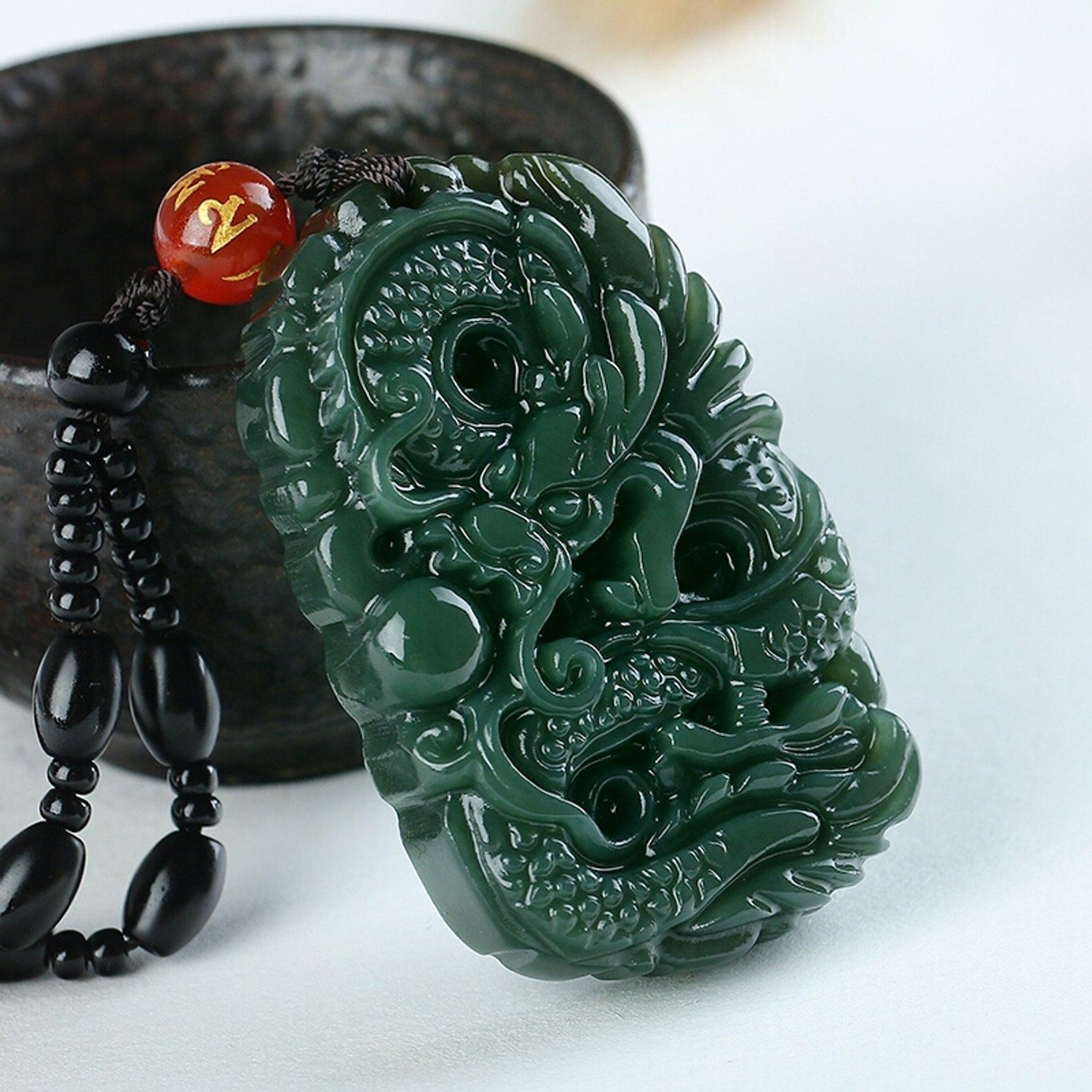 Mens Natural Green Hand-carved Dragon Jade Pendant necklace a2o6D1L17
