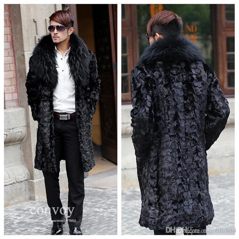 Online Cheap Mens Long Sleeve Faux Fur Coat Lapel Neck Long Hair ...