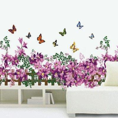Removable Vinyl Fence butterfly fence flower stickers wall decal removable art vinyl
