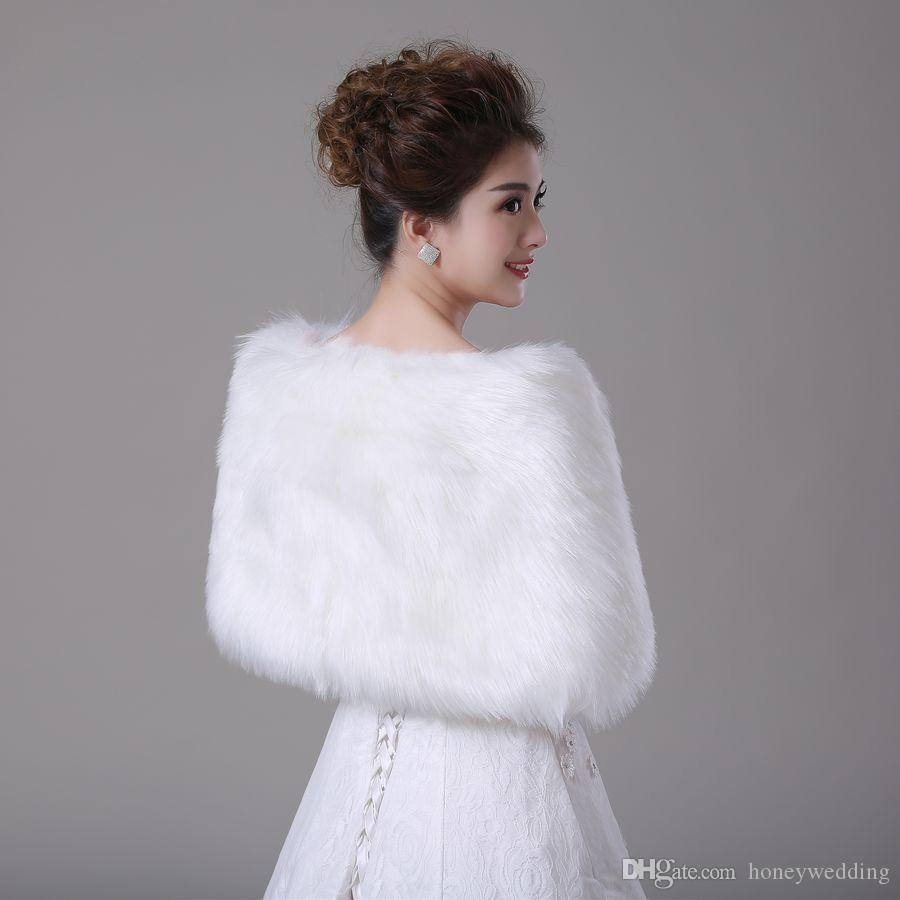 2016 de piel sintética nupcial envuelve chaquetas Bolero robó noche de invierno boda Prom abrigos Capes Champagne rojo blanco marfil accesorios baratos