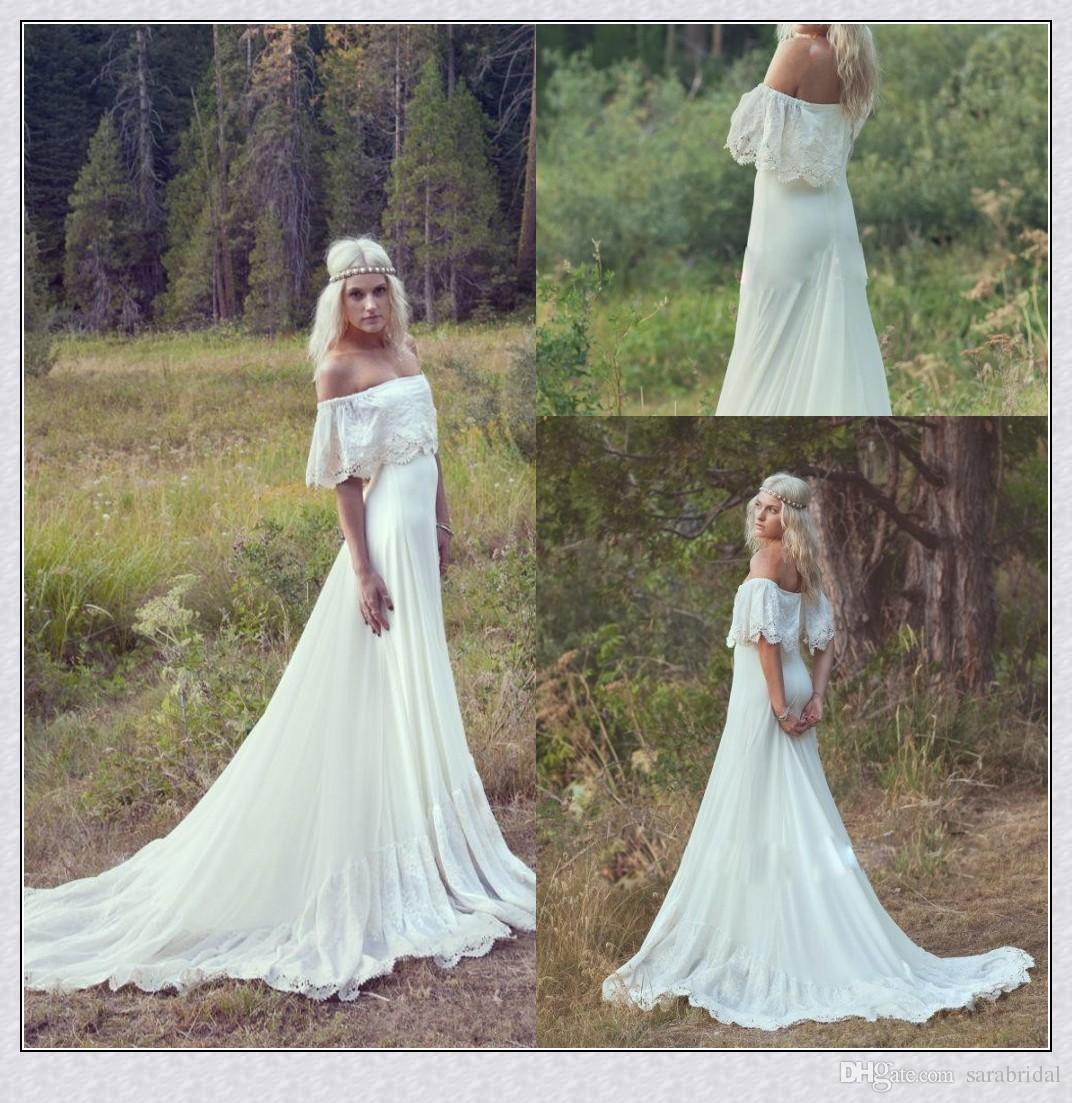 Boho Hippie Wedding Dresses 2016 Summer A Line Off The Shoulder Lace ...