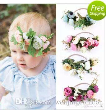 94c8765012c Baby Rose Flower Crown Headband Girl Wedding Party Festival Beach Garlands  Hairband Weath Forehead Halo Newborn Hair Accessories Tieback Pearl Hair ...