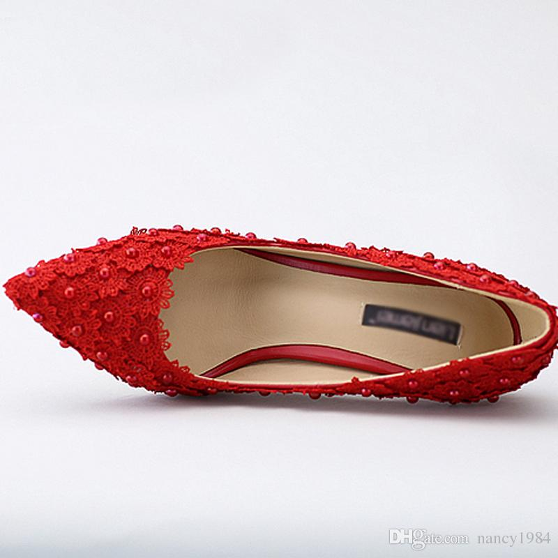 Lace Flower Applique Shoes Beautiful Red Lace Wedding Shoes Middle Heel Pearl Bridal Shoes Pointed Toe Dinner Party Shoes