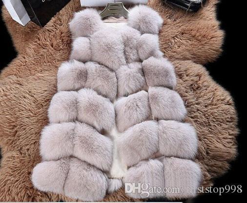 Na venda 2017 novo outono inverno Imitação de pele de raposa casacos mulheres colete casaco azul livre compras