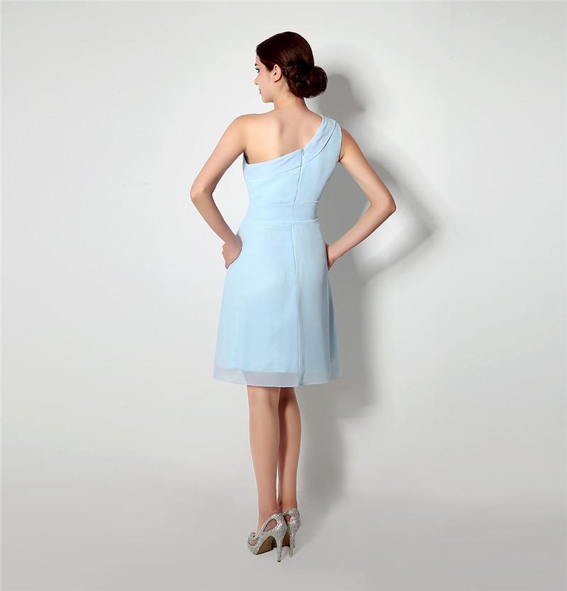 Simple A Line Short Bridesmaids Dress One Shoulder Chiffon Light Sky Blue Wedding Gown Bridesmaid Dresses Short Homecoming Dresses 4-16240
