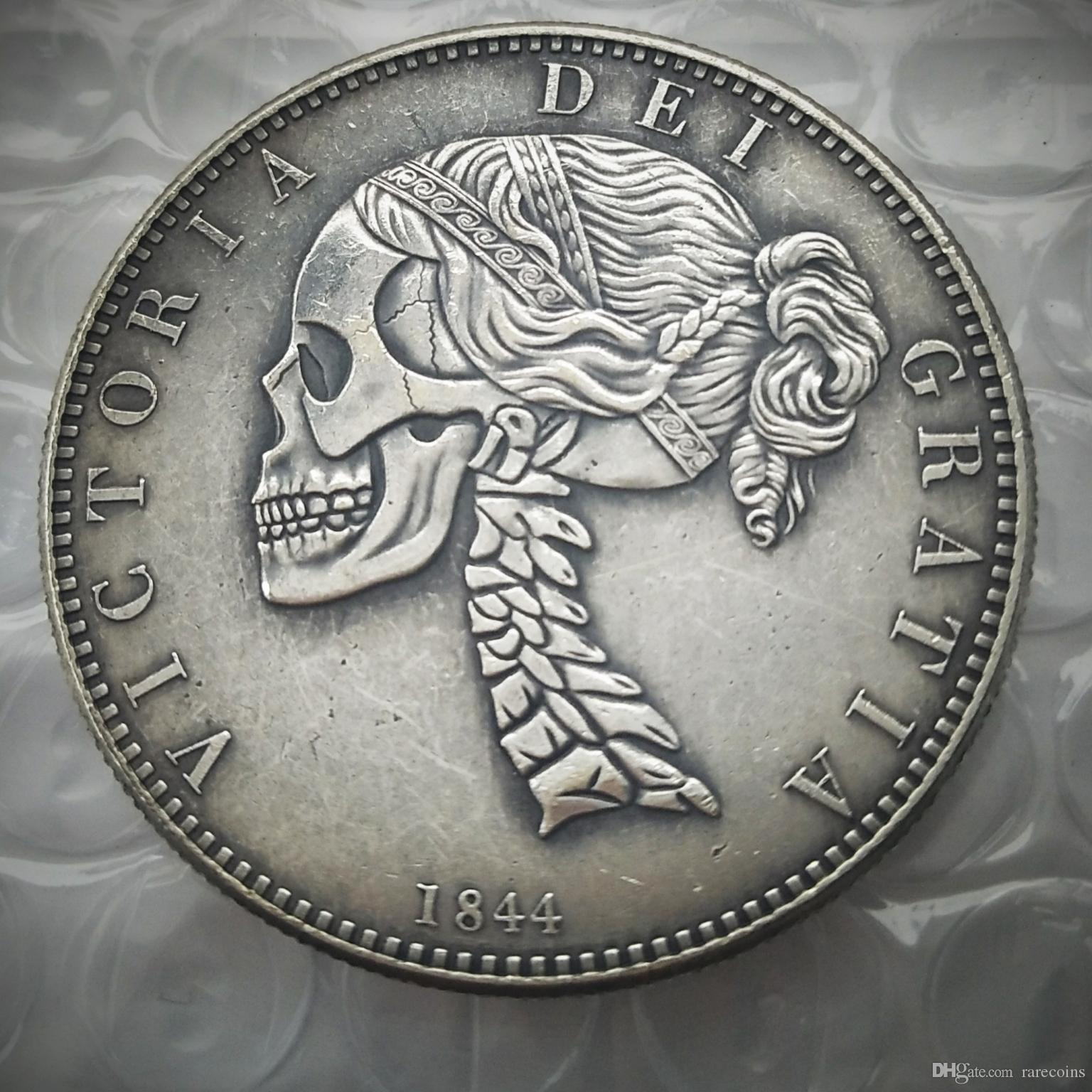 Hobo 1844 Queen Victoria Young Head Silver Crown Coin - Great Britain Skull  Zombie Skeleton Hand Carved Copy Coins high quality