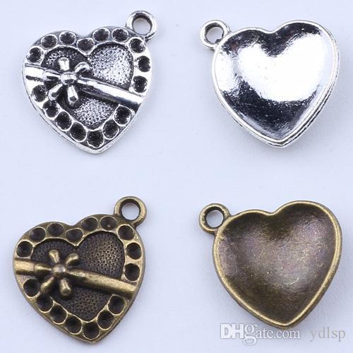2016 moda colgante con superficie cóncava y convexa de amor Fabricación de joyería DIY colgante en forma de collar o pulseras encanto 800 unids / lote 1933