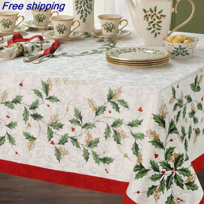 Superb Smhb0004 152*213cm Christmas Table Cloth Table Flag Red Christmas Flower  Style Table Cover Best