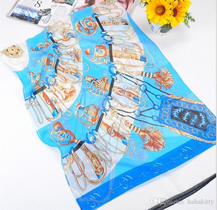 HWJ127 Nuevas Mujeres Bufanda Suave de Moda Saber Impresión Bufanda de Gasa de Seda .High Level.160x50cm./ DHL Libre