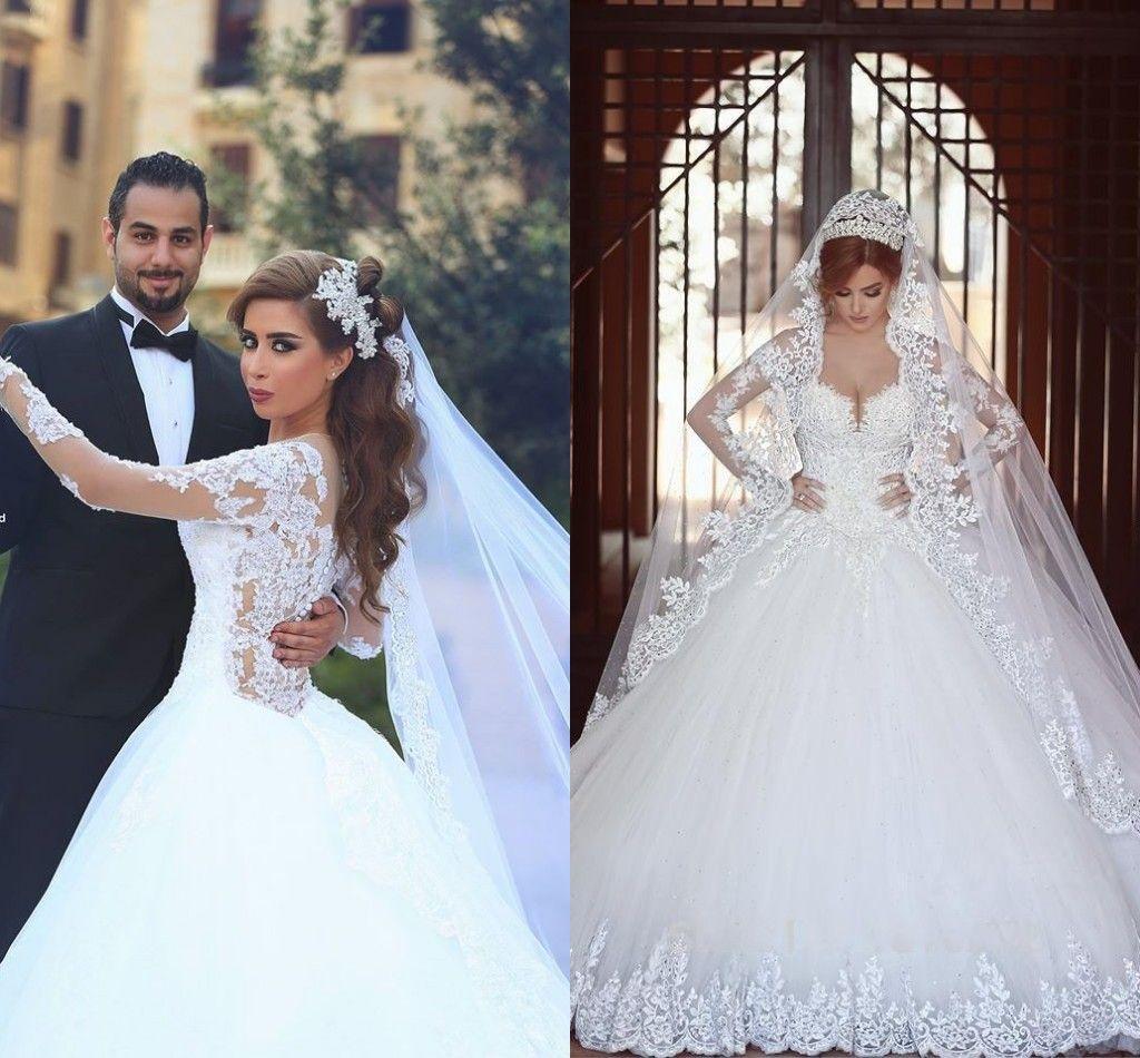 Simple Elegant 2015 Women Summer Wedding Dresses Flowing: Said Mhamad Wedding Dress 2015 Long Sleeves Sweetheart