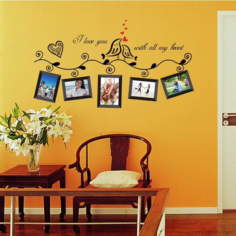 Sala de bodas Love Birds Marco de fotos Arte romántico Tatuajes de pared Pegatinas de pared Decoración para el hogar Cartel DIY vinilos paredes pegatinas orden $ 18no track