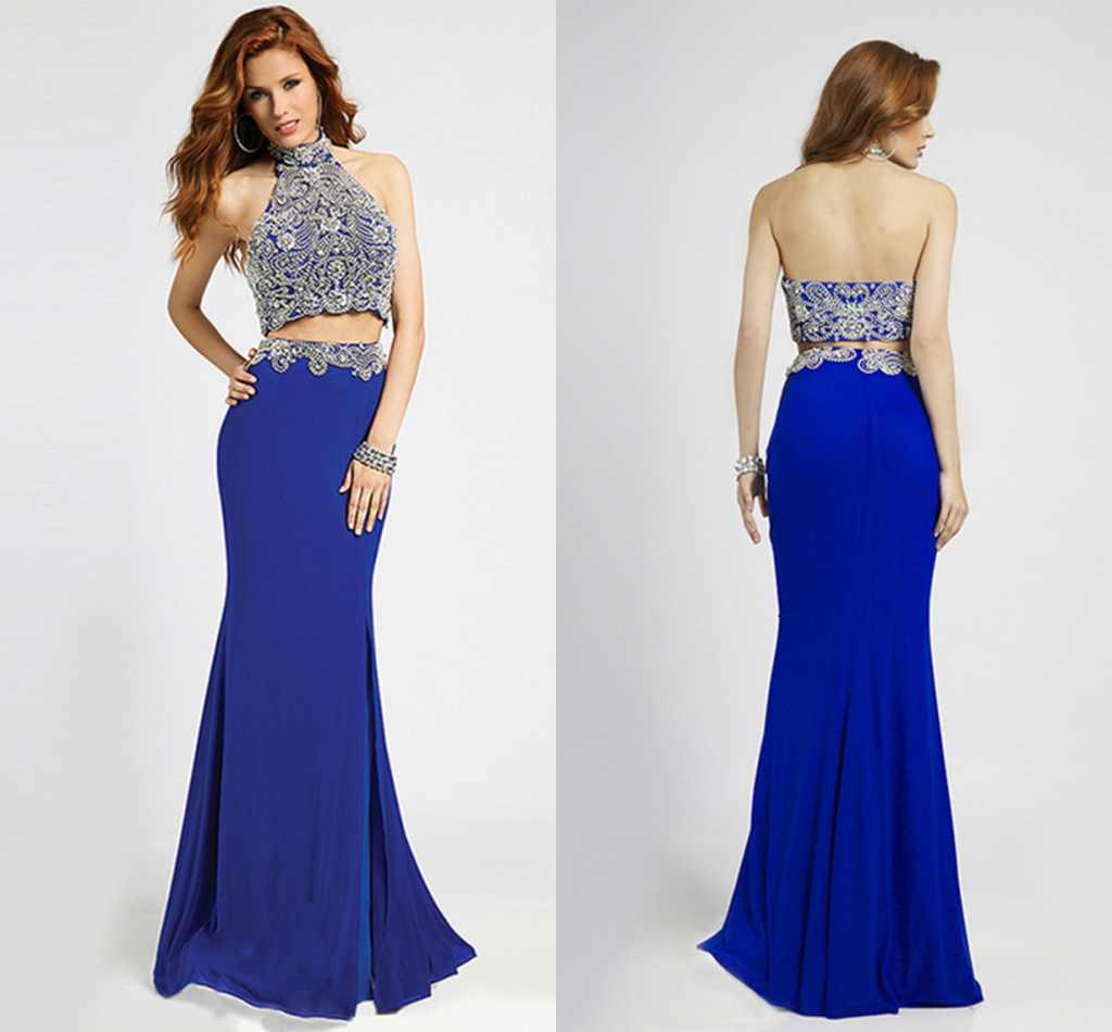 Royal Blue Prom Dresses Two Pieces High Collar Beads Beading ...