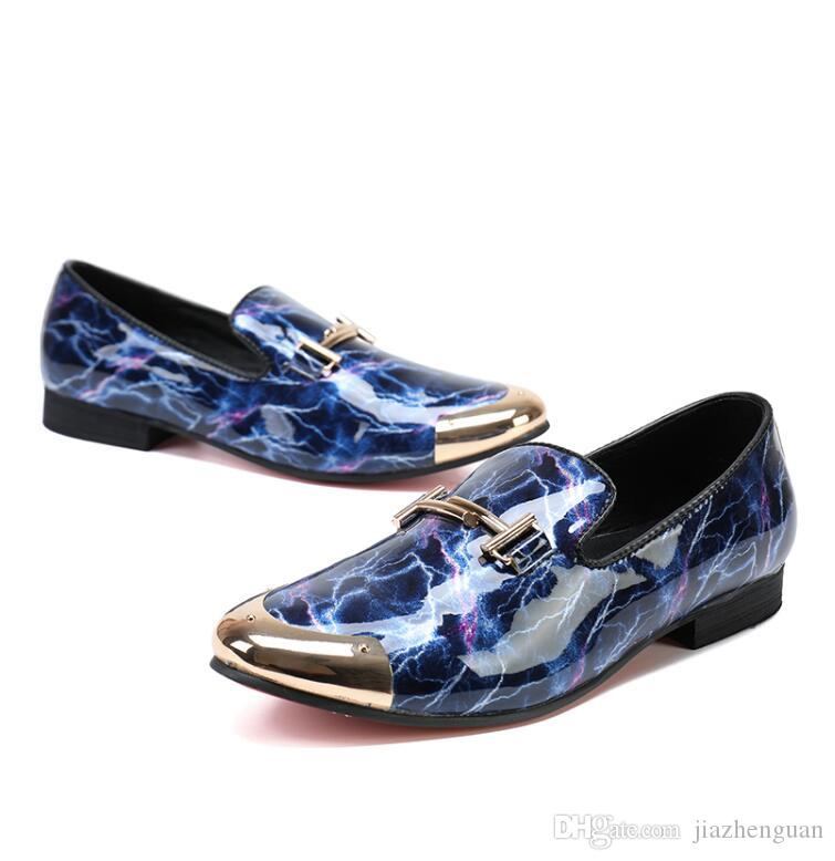 2017 New style Personality fashion slip-on blue red lazy over male shoes leisure hairdresser leather shoes luxurious brand men loafers M365
