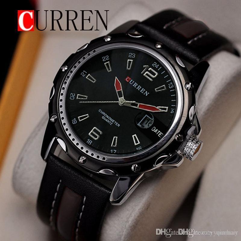 7fb561056df Waterproof CURREN 8104 Men Fashion Sports Quartz Watches Leather Strap Men  Watch Military Wristwatches Relogio Masculino Best Deals On Watches Best  Deal On ...
