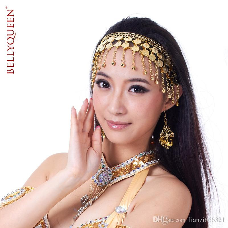 Belly Dance Bollywood Kostym Tribal Smycken Guld / Silver Headband Headpiece Prop Belly Dance Cions Headdress Gratis frakt