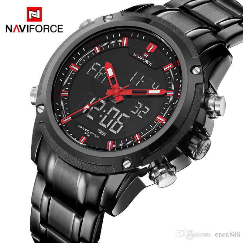 7e3b6e26733 Watches Men NAVIFORCE Brand Sport Full Steel Quartz Analog LED Clock ...