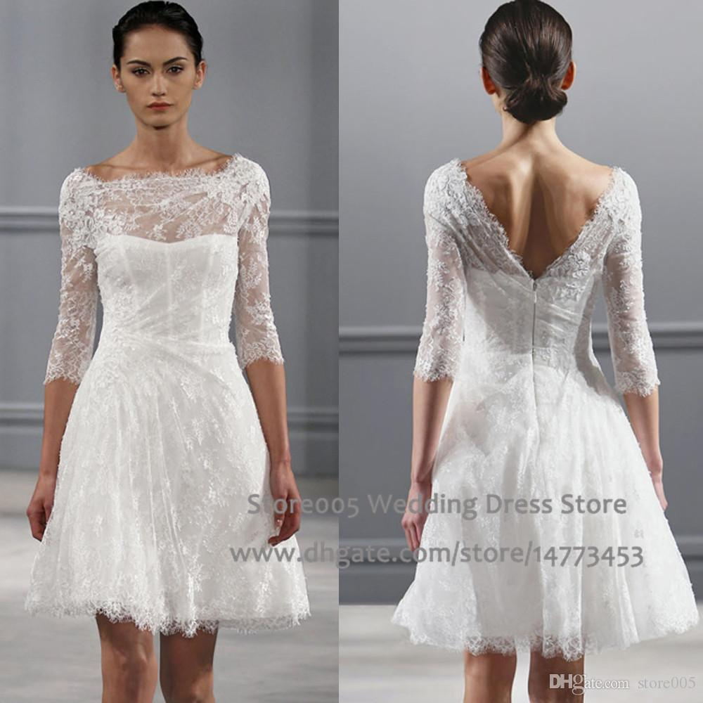 Discount Vintage White A Line Short Wedding Dresses Scoop V Back ...