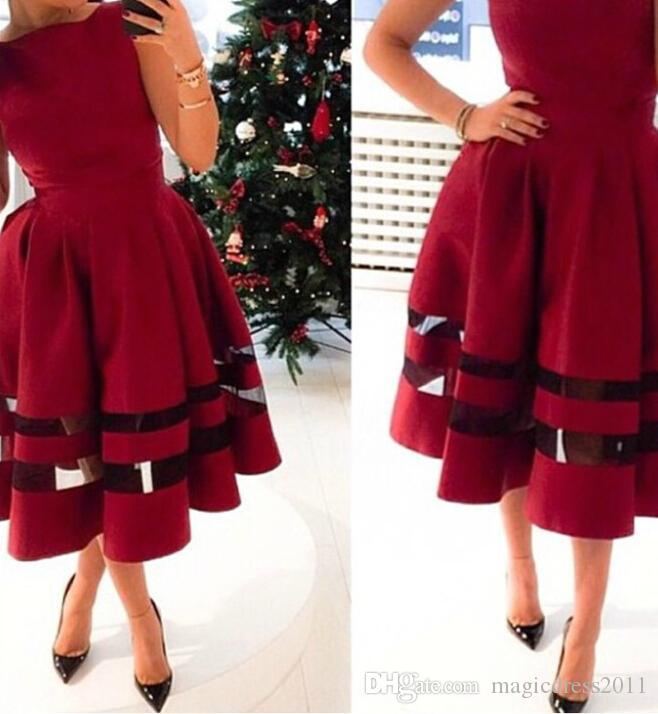 Elegante rote Abendkleider Tee-Länge formale Abschlussball-Kleider 2019 Gelegenheits-Kleid A-Line Juwel-Partei-Berühmtheits-Arabisch-Dubai-Gewohnheits-Spitzenqualität