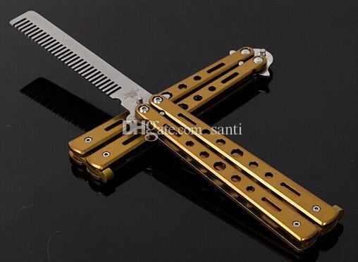 Toptan Katlanabilir Paslanmaz Çelik Tarak El Yapımı Saç Pomad Styling Kelebek C-25 Kuaförlük Bıçak Eğitim için