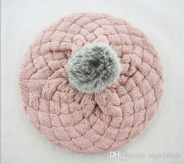 Bebê chapéus de presente de natal do bebê chapéus pom pom chapéu de malha cor de rosa meninas meninos gorro de inverno da criança crianças menino menina faux warm crochet cap 5 m-5 anos chil