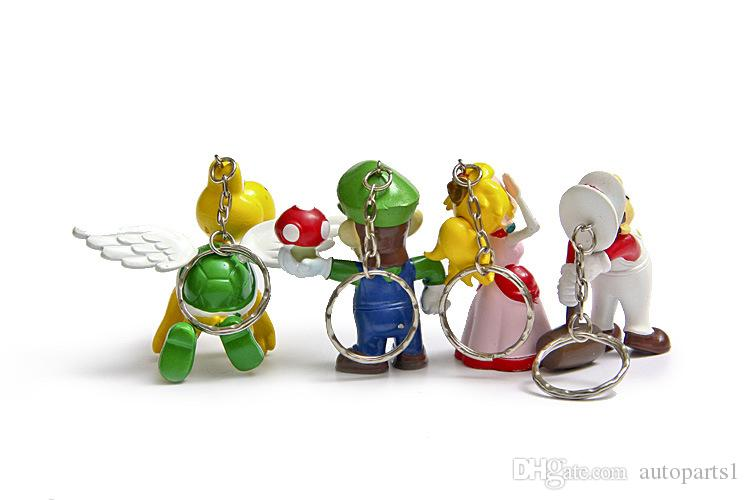 . / Classic Super Mario Bros Drawing With Keychain Mario Luigi Peach Yoshi Goomba King Kong PVC Action Toys