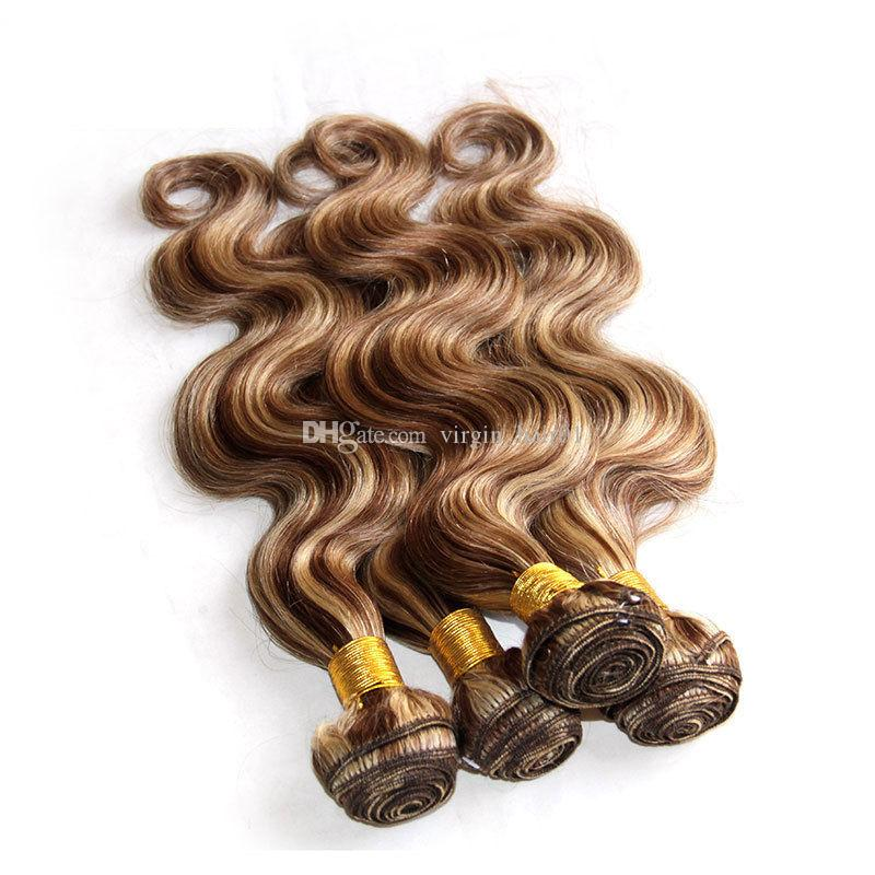 Mixed Piano Color Hair Weave Bundles Body Wave Two Tone #8 613 Highlight Brown Blonde Color Virgin Human Hair Extensions