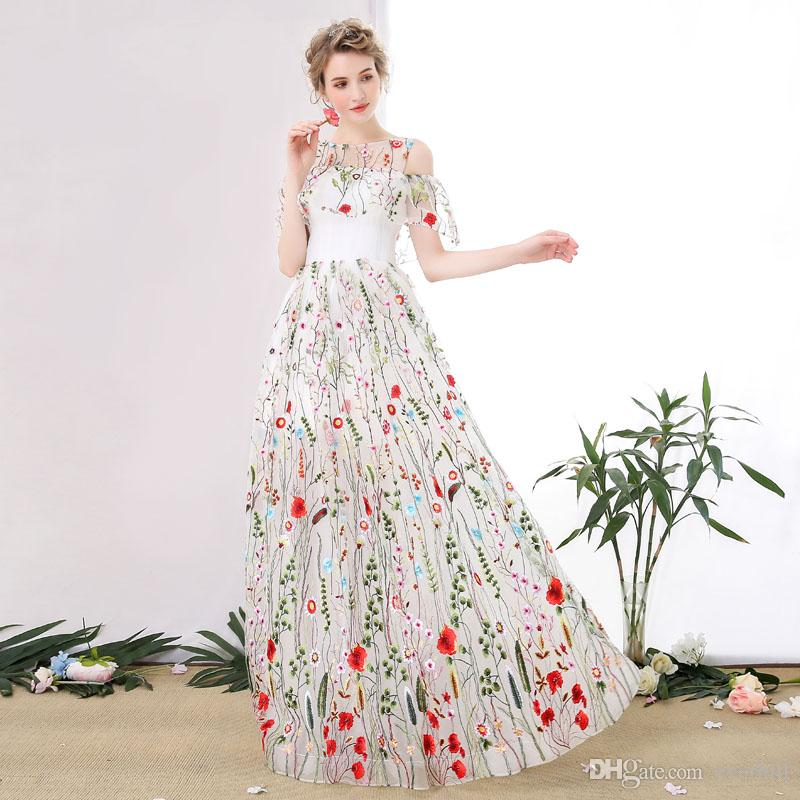 2018 Elegant Lace Long Women Prom Dresses Floor Length Tulle Galajurk A-Line See Through White Floral Evening Gowns Girls Summer Party Dress