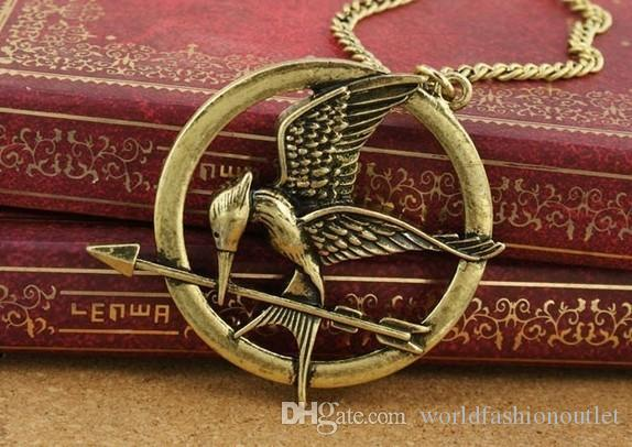 Wholesale pendant necklaces mockingjay hungry game big retro punk see larger image mozeypictures Image collections