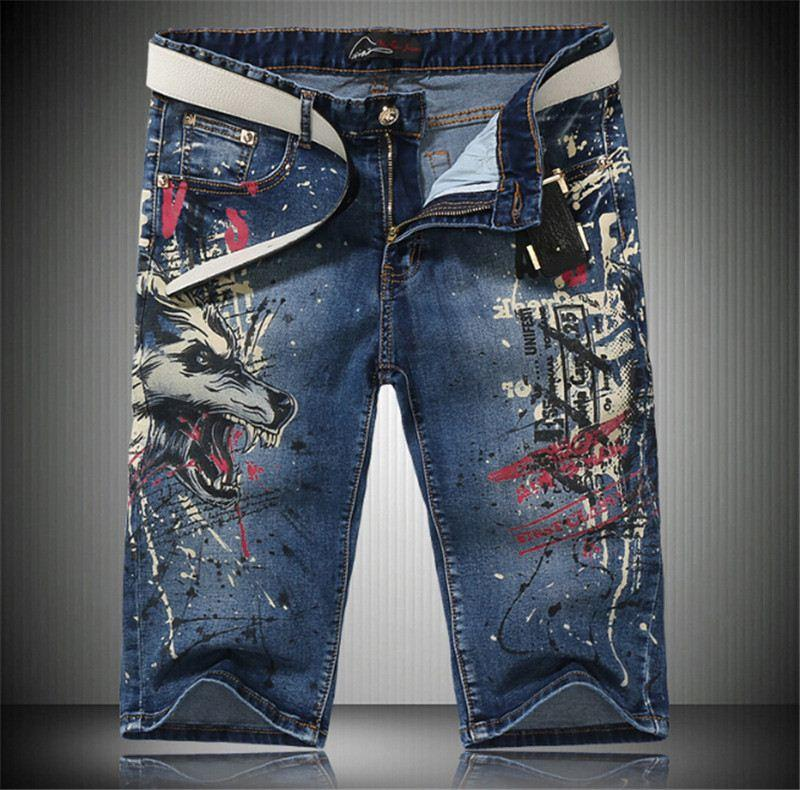 Online Cheap Summer Men Painted Denim Shorts Wolf Printed Casual ...