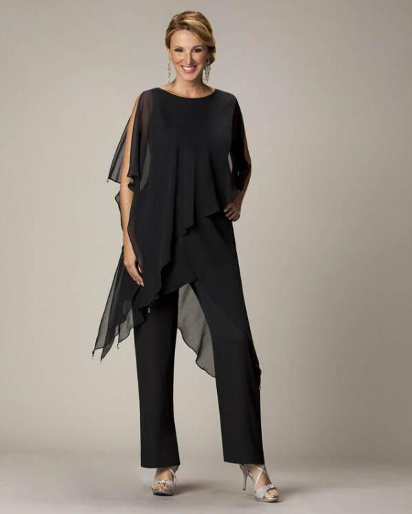 2015 Black Mothers Pants Suit Jewel Sheath With Irregular Jacket