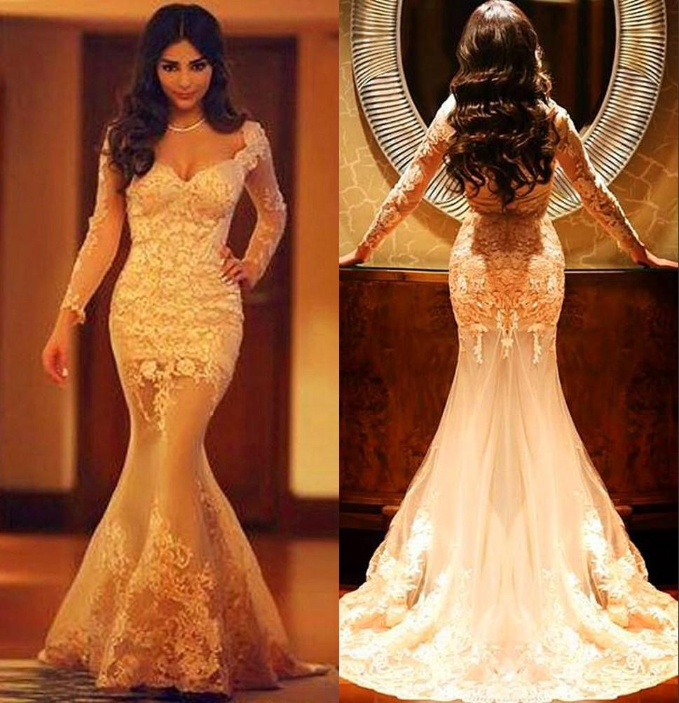 2016 Hot Sexy Mermaid Lace Long Sleeves Evening Formal Gowns ...