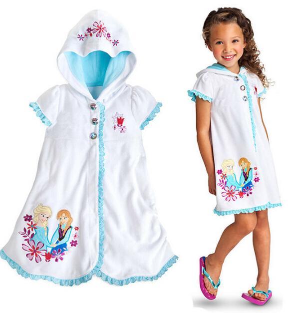 2018 2015 Frozen Fever Girls Bathrobe Anna Elsa Cotton Pajamas ...
