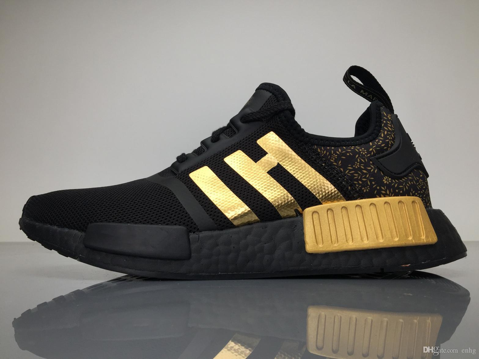 detailed look 930fe 93790 2017Versace X NMD Running Shoes Originals NMDs BA7250 Outdoor Sneakers  Black Gold Top Real Boost Sneakers Womens Boosts