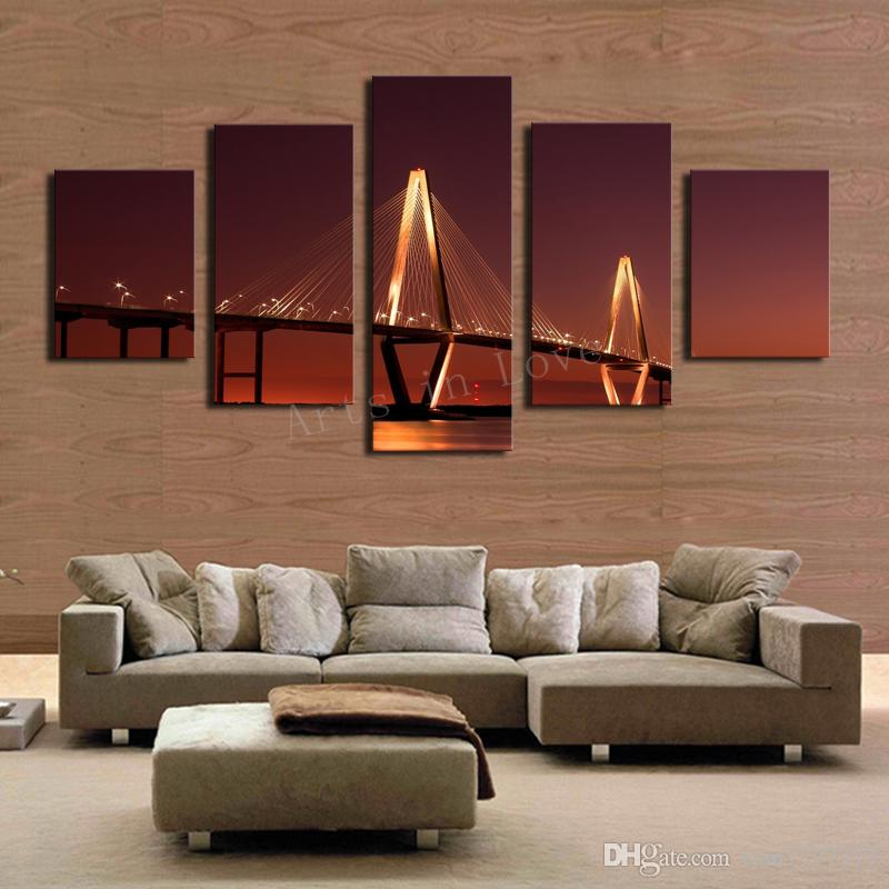 5 Panel Bridge Painting Home Wall Decor Canvas Picture Art HD Print Painting Modern Arts New Gift Living Room Decor