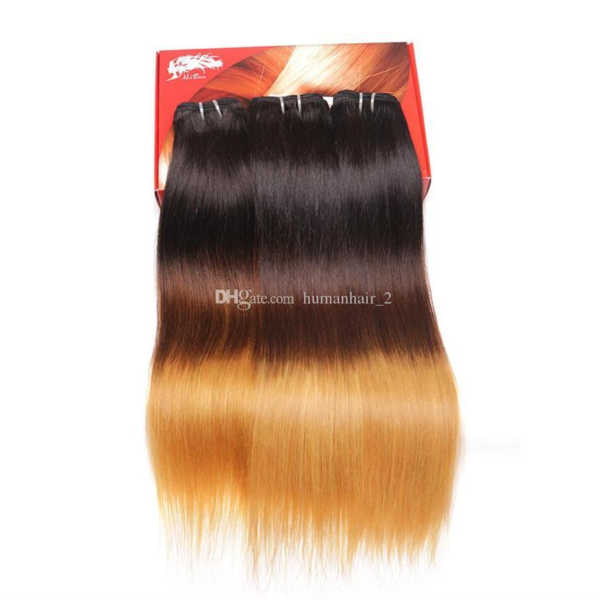 Ipek Düz Ombre İnsan Saç 1b 4 27 Malezya Brezilyalı Avrupa Hint Bakire Insan Saçı Örgüleri 8A Sınıf Üç Ton Saç
