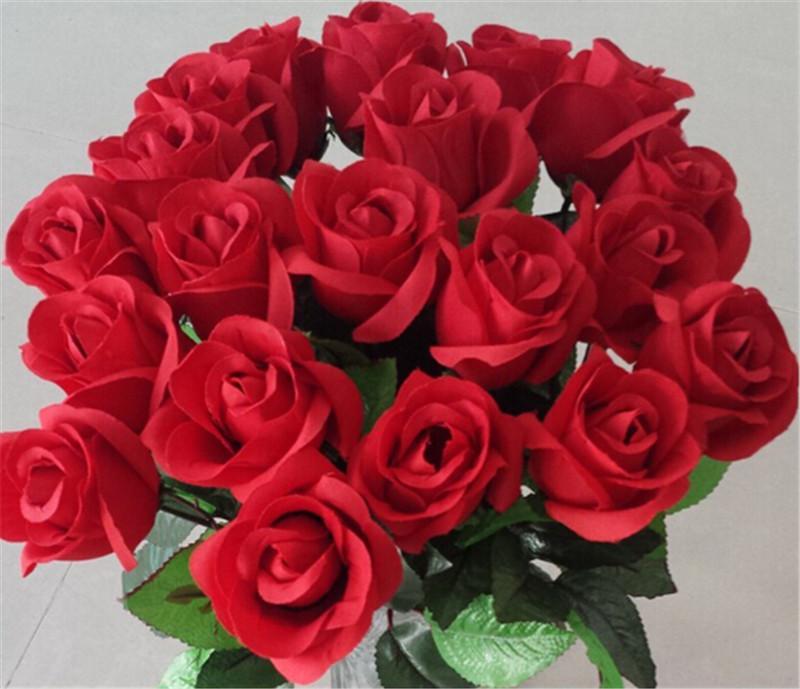 Frais rose Fleurs Artificielles Real Touch Rose Fleurs décorations pour la maison pour la fête de mariage d'anniversaire de fête