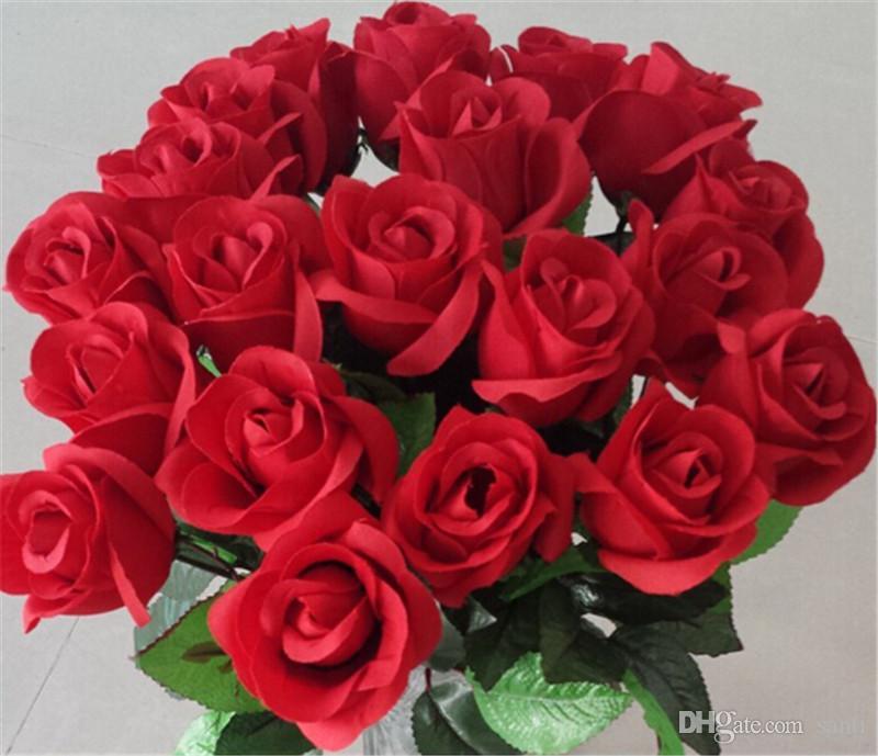 Свежая роза Искусственные цветы Real Touch Rose Flowers Украшения для дома на свадьбу День рождения Праздничный