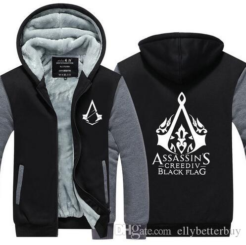 40 New Winter Fashion White Pattern Assassin Creed Hoodie Zipper Simple Assassin's Creed Hood Pattern