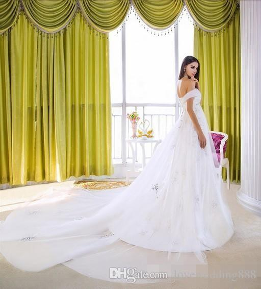 2015 Off The Shoulder Vintage Maternity Wedding Dress China Ruffles Crystal Applique Pregnant Bridal Gowns For Weddings Cathedral Train