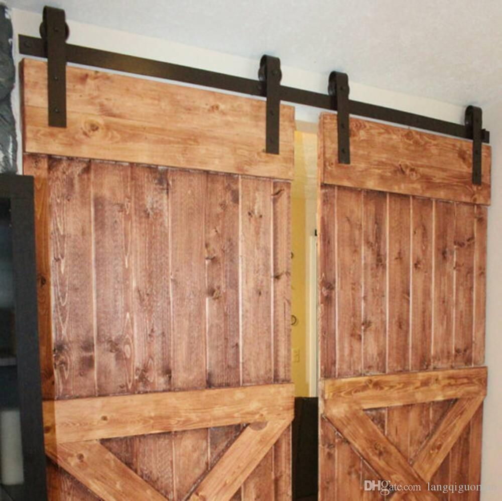 2018 10ft new double wood sliding barn door hardware for Dual track barn door hardware