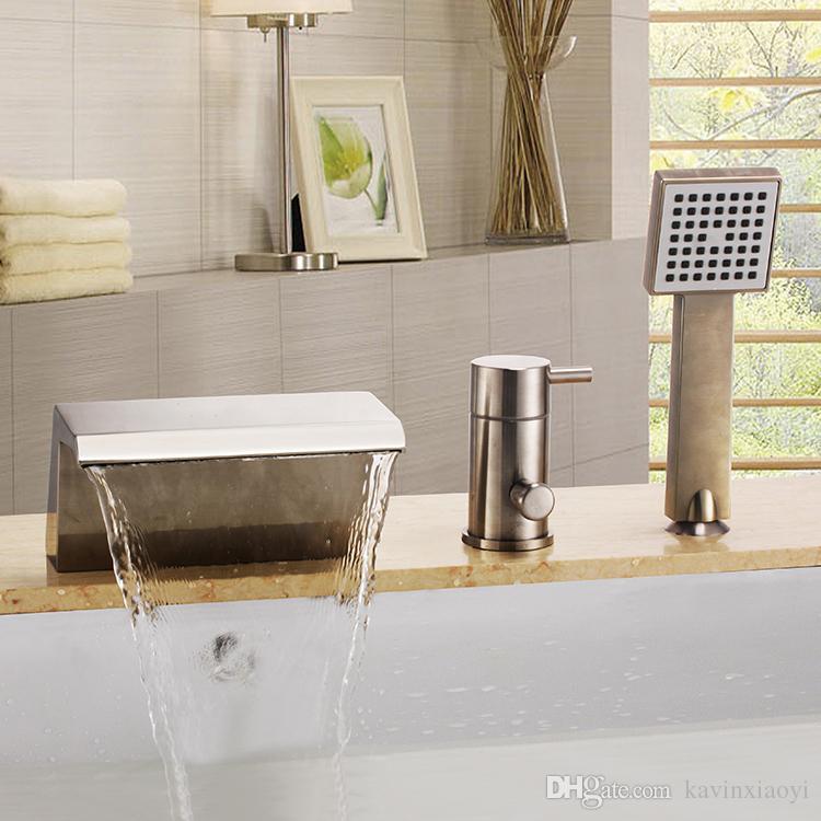 2018 Free Ship Brushed Nickel Widespread Waterfall Bathroom Bath ...