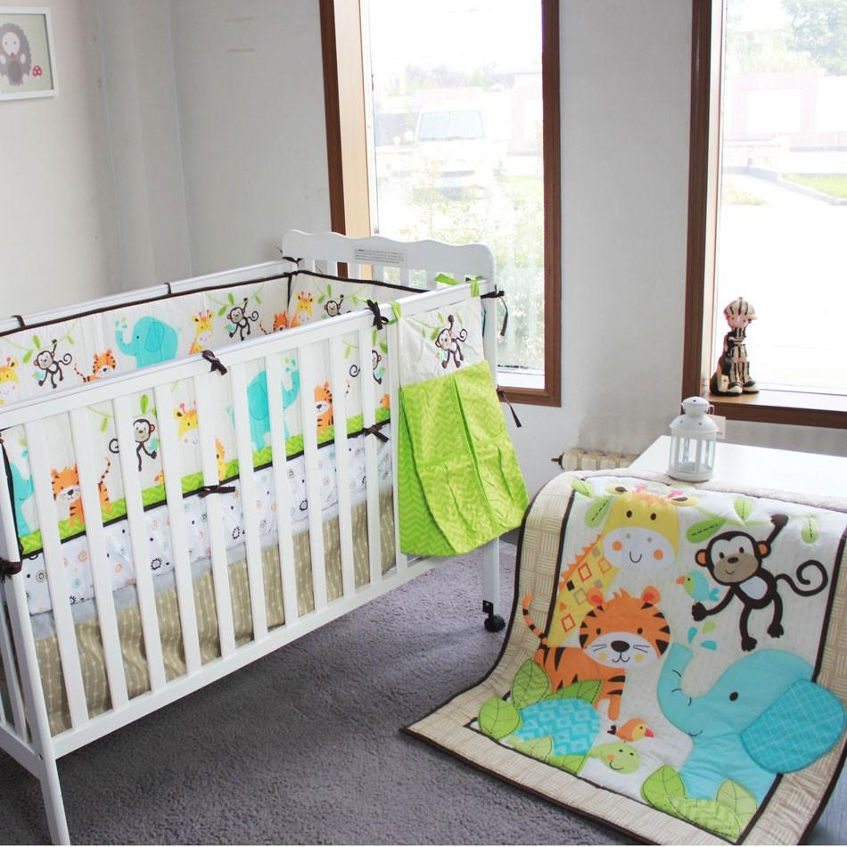 Baby cribs bedding sets - 2016 Year Baby Bedding Set 3d Elephants Monkeys Tigers Baby Crib Bedding Set Include Quilt Skirt Bumper Fitted Urine Bag A 1 Boys Queen Size Bedding Boy