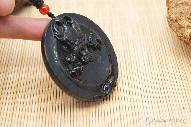 Saf doğal mürekkep el yapımı oyma zümrüt ejderha wangzi chan muska kolye kolye,
