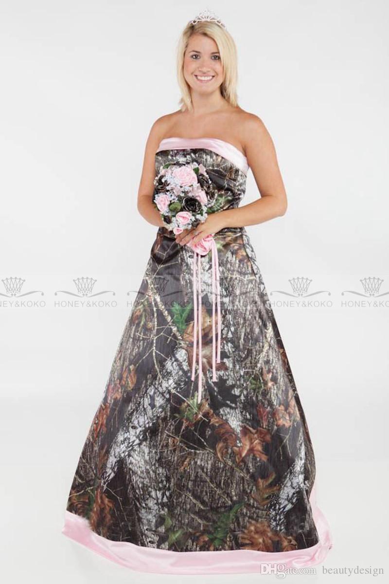 Glamorous 2019 Camo A line Brautkleider plus size formale rosa Satin Gericht Zug Brautkleider trägerlos sexy Lace-up Brautkleider